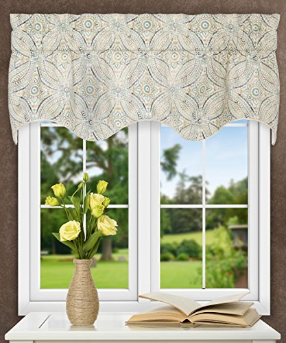 """Ellis Curtain Blissfulness 50"""" x 15"""" Lined Scallop Valance, Spa"""