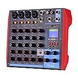 Muslady Mixer audio a 6 canali Mixer audio digitale+Alimentazione Phantom 48V,Supporta la connessione BT/USB / MP3,per la registrazione di musica DJ Network Live Broadcast Karaoke