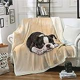 Pug Blanket Twin Size Throw Black White Dog Fleece Blanket Cartoon Animal Yellow Flannel Blanket Sofa Couch TV Bed Blanket Cozy Decor Blanket for Kids Teens Adults All Season 60'x 80'