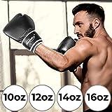 Physionics Guantoni da Boxe - Taglia a Scelta (10,12,14,16 Oz), Adulto, Unisex, Nero/Bianco - Guanti da Pugilato, da Sacco, da Combattimento, Kick Boxing, Muay Thai, MMA, UFC, Sparring (14 oz)