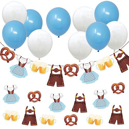 Oblique Unique® Oktoberfest Deko Set - Girlande mit Dirndl Lederhose Bier Brezel + 10x Luftballons in Blau Weiß + 12x XXL Konfetti