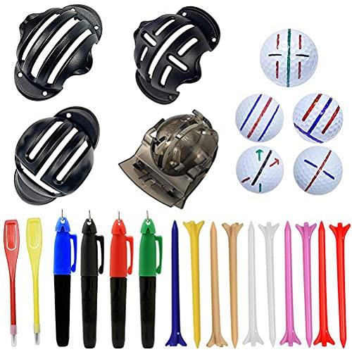 CZSMART 20 Stück Golfball Linienmarker Sets, Golf Alignment Tool, Einschließlich 4 Stück Golf Linienmarker 4 Stück Marker Stift 2 Stück Score Stift 10 Stück Zufällige Ball Spikes