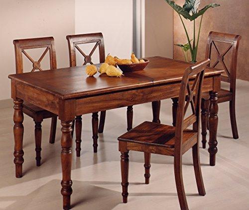 MaisonOutlet Tavolo da Pranzo provenzale allungabile in Legno Massiccio di Teak pregiatissimo. Finitura Color Noce - Stile coloniale Francese.