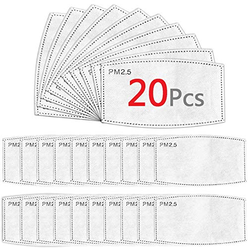 20 Pcs Filters for Masks, PM2.5 Face Mask Filter Insert Replaceable, 5 Layers Activated Carbon Filter Indoor Outdoor