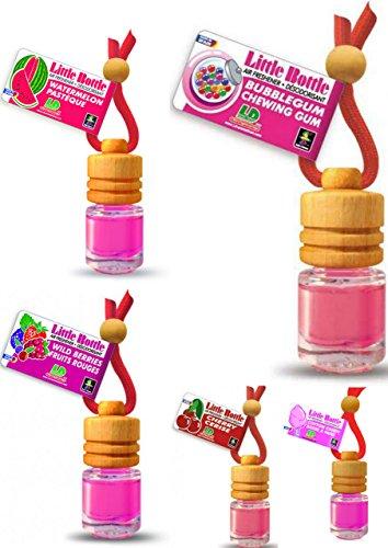 LD 5 Stück Elegante Duftflakons fürs Auto Autoduft Lufterfrischer Mix: Bubble Gum, Cherry, Cotton Candy, Watermelon, Wild Berries