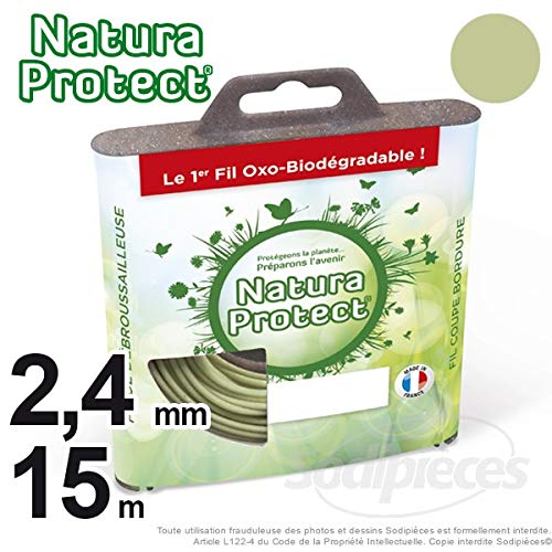 Hilo para rebordeadora 2,4 mm, 15 m redondo en carcasa Natura ...
