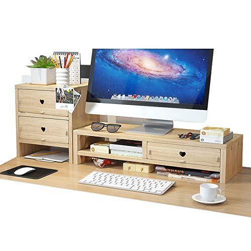 Rialzo per monitor da scrivania, con 3 cassetti, per riporre oggetti da ufficio e spazio per tastiera e mouse, formato A4, legno (legno)