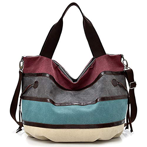 Travistar Damen Handtaschen Multi-Color-Striped Canvas Damen Hobos Schultertasche Shopper Tasche (Farbmischung-a)