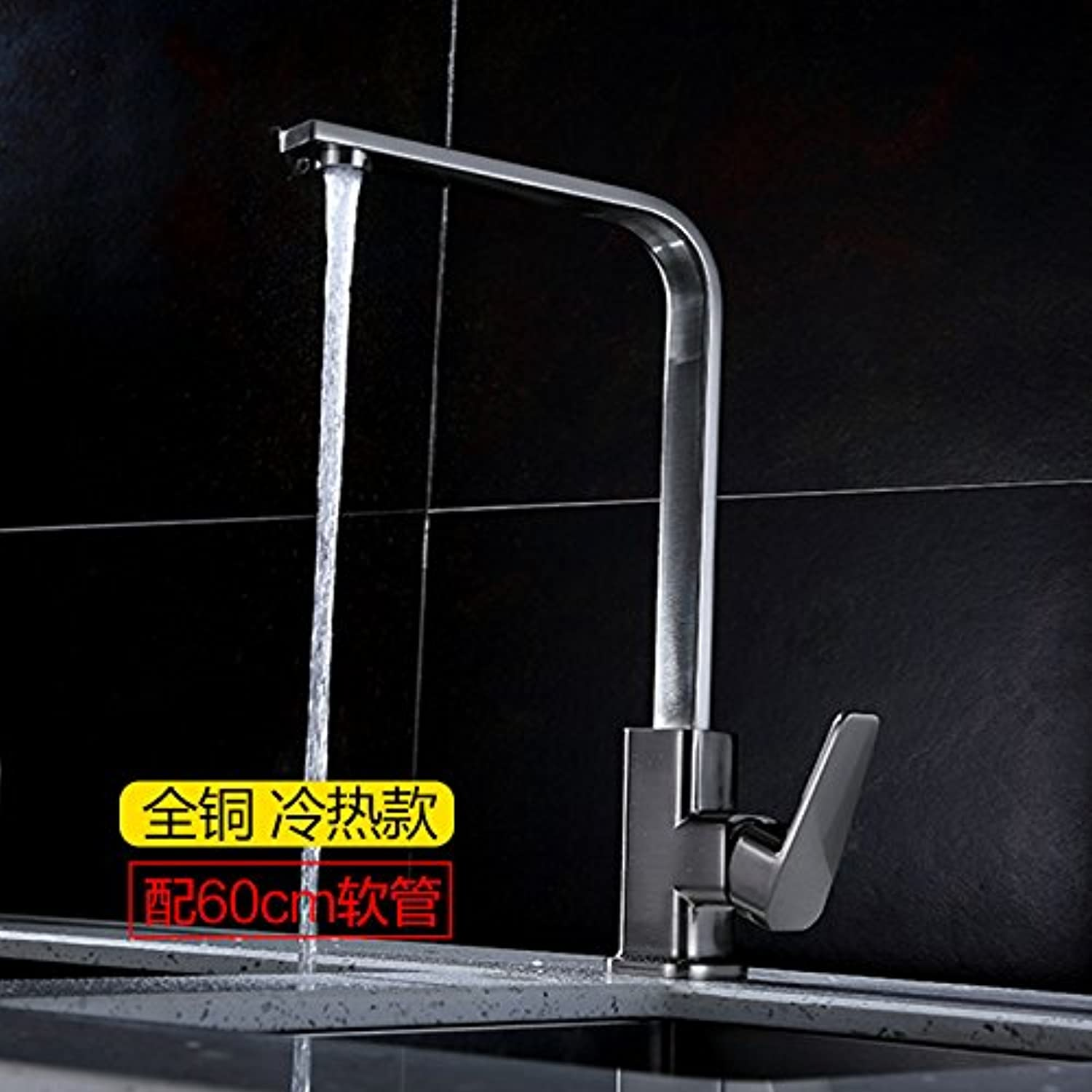 Lpophy Bathroom Sink Mixer Taps Faucet Bath Waterfall Cold and Hot Water Tap for Washroom Bathroom and Kitchen Square Tube Copper Hot and Cold Single Cold Plating Square Brush?A