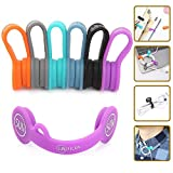 SUNFICON 6 Pack Magnetic Cable Clips Cable Organizers Earbuds Cords Winder Bookmark Clips Whiteboard Noticeboard Fridge...