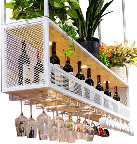 FENGFAN wijnrek met glashouder (met spotlights) | metalen plafond-hangende wijnhouder | Houten wijnflessenhouder | opgehangen wijnglashouder (wit) 150×30×80cm