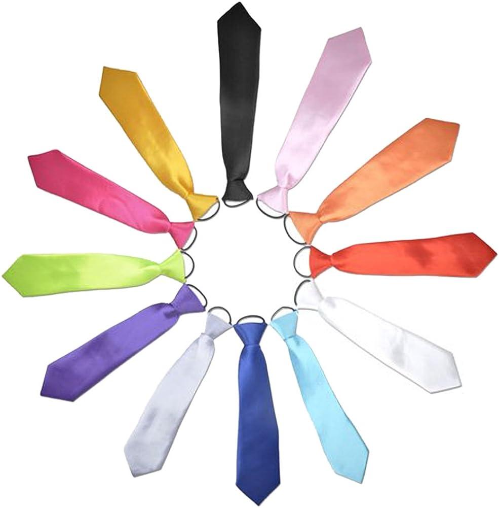 TopTie Wholesale 12 Pcs Kid's Solid Color Neckties, 10 Inch Ties