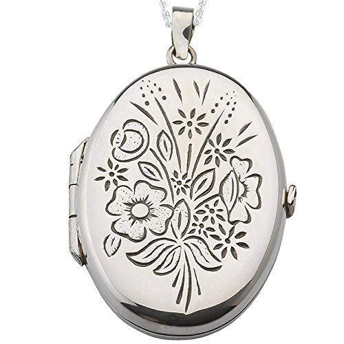 Alylosilver Collana con Ciondolo Medaglione Portafoto Ovale in Argento Sterling per Donna con Fiori Incisi. Include Catena da 45 cm e Scatola Regalo