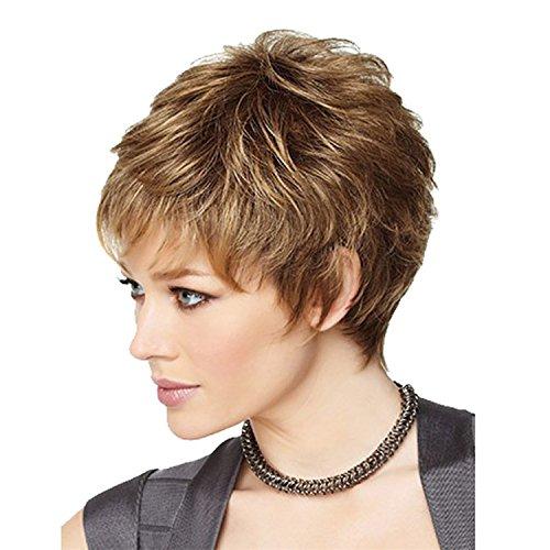 liap Europe poils courts bouclés Perruques Cos Rose Haute Température treillis métallique perruque Mode court femme