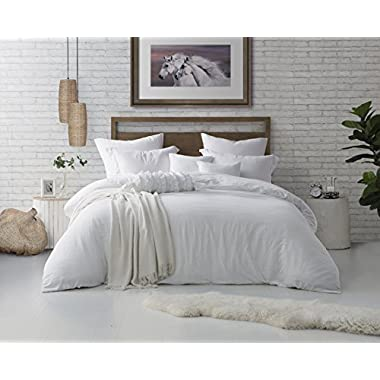 Swift Home Microfiber Washed Crinkle Duvet Cover & Sham (1 Duvet Cover with Zipper Closure & 2 Pillow Shams), Premium Hotel Quality Bed Set, Ultra-Soft & Hypoallergenic – King/Cal King, White