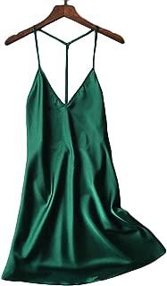 Silky Satin Nightie,Backless Lingerie for Women,Loose Sleepwear,Mini Nightgown,Spaghetti Strap Chemise