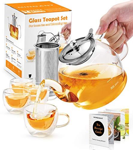 Teekanne mit Siebeinsatz, 1200ML Teeservice 4 doppelwandige Gläser, Borosilikatglas Teekanne, Glasteekanne, Teekanne Glas mit Siebeinsatz, Tee-Ei für lose Blätter Teekanne Set - Spülmaschinenfest …