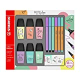 Stabilo f49716 Boss Mini – estuche de 6 rotuladores fluorescentes pastellove con 3 rotuladores Pen 68 Mini con 3 punta superfina Point 88 Mini con 12 pegatinas