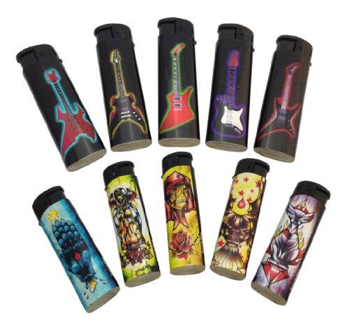 F110 Elektro-Feuerzeug mit Rockmusik Guitar & Tattoo Bildern (5)