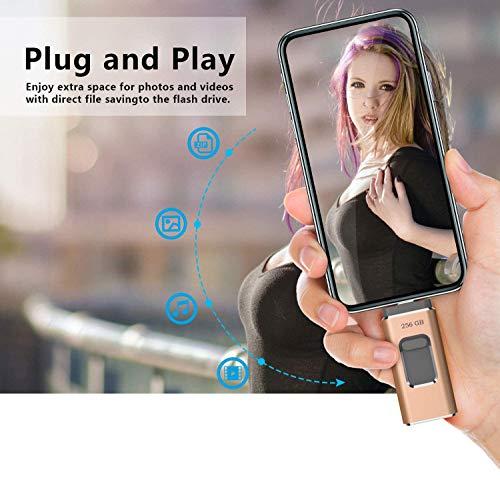 maxineer USB Stick 256GB für iPhone Android 3-in-1 USB-Stick Speicherstick USB-Flash-Laufwerk USB 3.0 Externer Speicher Speichererweiterung für iPhone iOS iPod iPad Smartphone/PC