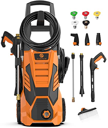 SUNPOW Pressure Washer 3000 Max PSI 2.4 GPM Electric Power Washer Machine Cleaner with 8 Nozzles, 2 Spray Gun, Built-in Detergent Tank, Soft Bristle Brush for Cleaning Homes,Cars,Driveways,Patios