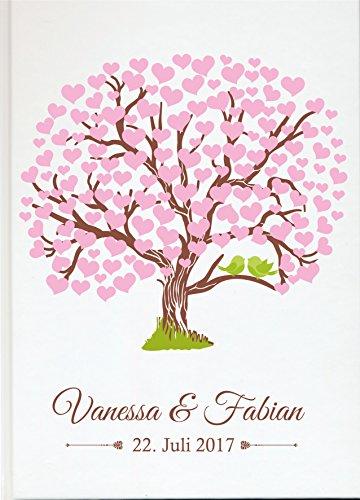 Livingstyle & wanddesign gepersonaliseerd gastenboek voor uw bruiloft huwelijksboek individueel met eigen naam fotoalbum Mr Mrs Wedding (motief 57) roze