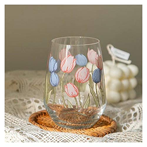Tazas cafe 400ml vino vino taza de café taza de agua jugo de leche taza plana taza taza (Color : Blue pink)