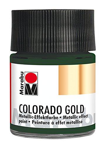Marabu 12640005768 - Metallic Effektfarbe, Colorado Gold metallic dunkelgrün 50 ml, auf Wasserbasis, lichtecht, wetterfest, schnell trocknend, zum Pinseln und Tupfen auf saugenden Untergründen