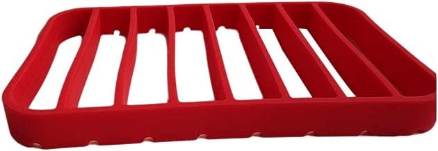 BESTONZON Silicone Roasting Rack Kitchen Multipurpose Insulation Non-Stick Roast Rack for Oven Pressure Cooker - 27x17.5x2.5cm (Red)