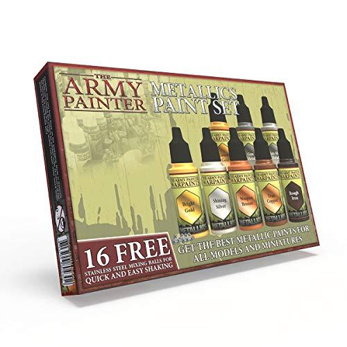 The Army Painter | Metallic Paint Set | 8 Metallic Farben and 16 Mischkugeln | Für alle Sammler in der Wargames Miniatur Modellmalerei