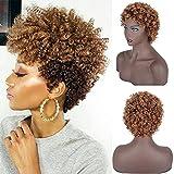 Pelucas afro de pelo rubio castaño corto para mujeres negras peluca rizada...