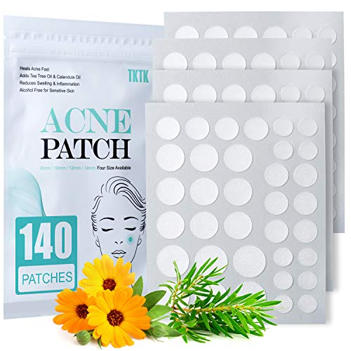 Acne Patch Pimple Patch, 4 Sizes 140 Patches Acne Absorbing Cover Patch, Hydrocolloid Invisible Acne Patches For Face Zit Patch Acne Dots Tea Tree, Calendula Oil