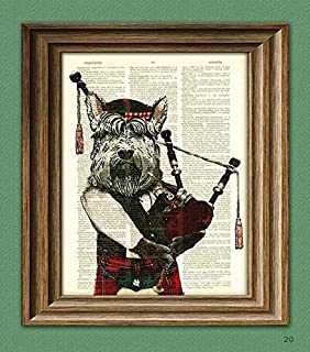 Hamish the Bagpiping Scottish Terrier With Bagpipes and Scottish Tam Hat Scottie Dog Beautifully Upcycled Dictionary Page ...