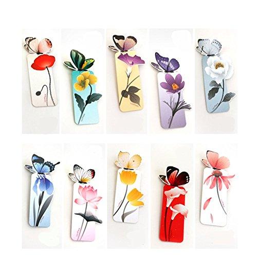 CAOLATOR 10er Set Lesezeichen Schmetterling und Blume Design Buch Marks Bookmarkers für Seitenmarker Geschenke Persönliche Sammlung 3cm*9.5cm