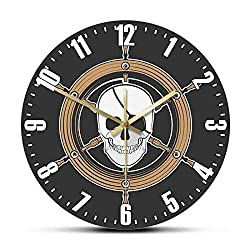 QINGQING Wall Clock Pirate Ship Captain's Wheel Skull Wall Clock Nautical Pirate Steering Wheel Marine Skull Head Clock Wall Watch Horror Art Decor for Office/Kitchen/Bedroom/School Decorative