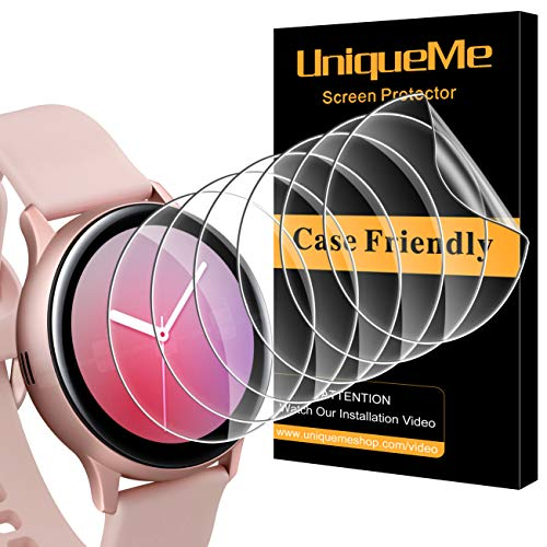 UniqueMe [6 Stück] Schutzfolie für Samsung Galaxy Watch Active 2 40mm Folie, [Maximale Reichweite][Blasenfrei] Bildschirmfolie Soft HD TPU Klar Bildschirmschutz