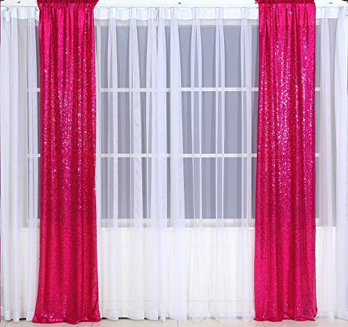 Eternal Beauty 2 PCS Sequin Curtains Hot Pink Sequin Wedding Curtain Backdrop for Christmas Party, Birthday (Hot Pink 3FTx7FT)