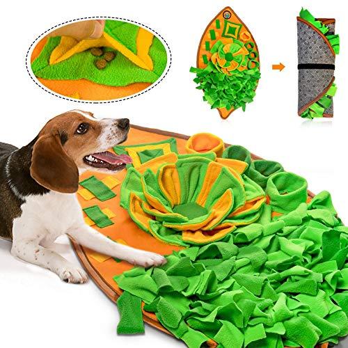 AWOOF Schnüffelteppich Hunde Intelligenzspielzeug für Hunde Waschbar Faltbar rutschfest Hundespielzeug Schnüffelspielzeug Blattartiges Schnüffelrasen Riechen Trainieren Schnüffeldecke