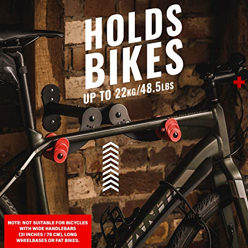 PRO BIKE TOOL Bike Wall Mount - Horizontal Indoor Storage Rack for 1 Bicycle in Garage or Home - Cycling Hanger - Safe and Secure Holder, Hook for Bicycles - Hang Your Road, Mountain or Hybrid Bikes