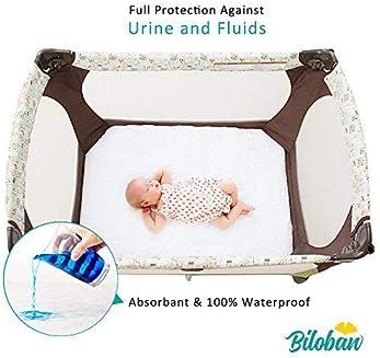 "Biloban Waterproof Crib Mattress Pad Cover for Pack N Play - 39"" x 27"" Fitted Pad for Graco Playard Mattress | Mini &..."