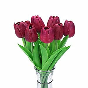 Silk Flower Arrangements Decora 10Pcs/Bag PU Holland Mini Tulip Artificial Flower Real Touch for Wedding,Room,Home,Hotel,Party Decoration and Valentine's Day (Dark Plum)