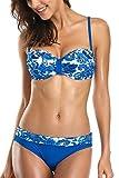 ALove Damen Bandeau Bikini Mit Bügel Push Up Blumen Raffung Bikini Set Blau M