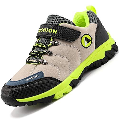 Unitysow Kinder Trekking- & Wanderschuhe Jungen Mid Wanderstiefel Mädchen Outdoor Trekking Schuhe rutschfeste Sneaker Gr.29-39,Beige-1 Gr.35
