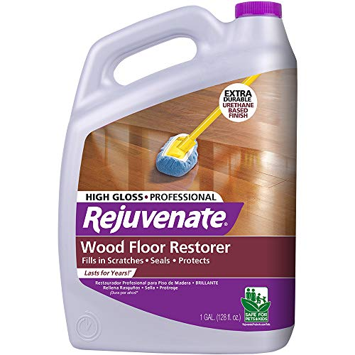 Rejuvenate Professional Wood Floor Restorer and Polish with Durable Finish Non-Toxic Easy Mop On Application High Gloss Finish 128oz