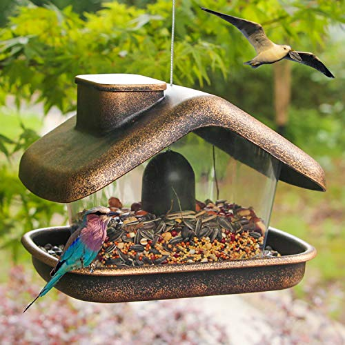 Funpeny Hanging Wild Bird Feeder, House Bird Feeders and Garden Decoration for Bird Watchers and Children