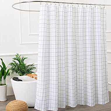 Mold Resistant Fabric Shower Curtain for Bathroom Black and White,Washable STALL Size 72 X 72 Inch