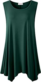 LARACE Women Plus Size Solid Basic Flowy Tank Tops Summer Sleeveless Tunic