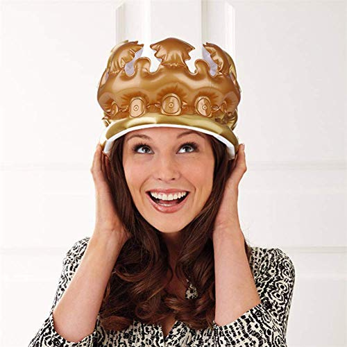 UNHO Inflatable Crown Birthday Party 8 Inches Hat King, Queen, Prince, Princess Hats Cap Gold Decorative Party Decoration