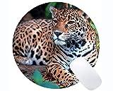 Runde Mausunterlage mit Rastkante, Runde Mausunterlage mit genähter Kante von Jaguar Leopard