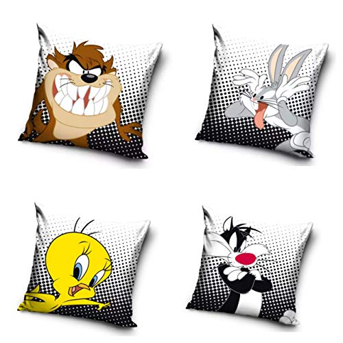 Warner Brother Official Looney Tunes 4 CUSHION PACK Cushion Printed Decorative Throw BUGS BUNNY TAZ TWEETY SYLVESTER pillow Cover CUSHION Cushion